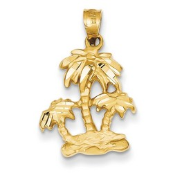 14k Yellow Gold Satin Open-Backed Palm Trees Pendant 17x16 mm 1.62 gr