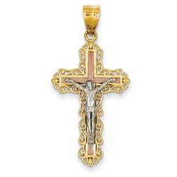 Solid 14k Two-Tone Gold Crucifix Pendant 33x21mm  *** MADE IN USA