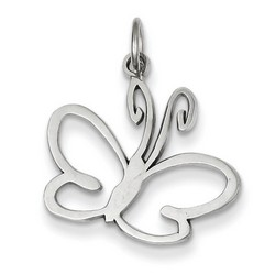 14k White Gold Butterfly Charm 17x19 mm 1.06 gr *** Made in USA