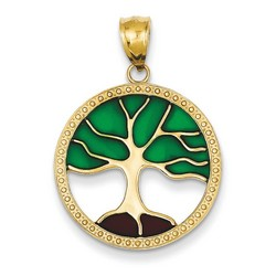 14k Yellow Gold Enameled Tree of Life Pendant 21x21 mm 1.89 gr *** Made in USA