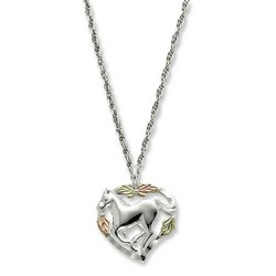 Horse In Heart Necklace in 12K Gold and 925 Sterling Silver