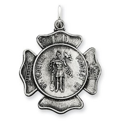 Saint Florian Badge Medal Charm in 925 Sterling Silver