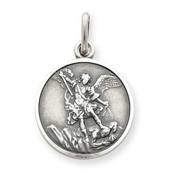 Antiqued Saint Michael Medal Charm in 925 Sterling Silver