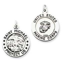 Antiqued Saint Michael Marine Corp Medal Charm in 925 Sterling Silver