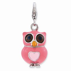 Pink Owl 3-D Charm With Heart By Amore La Vita