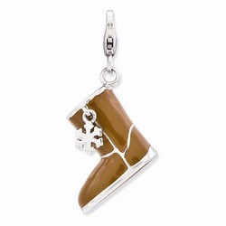 Moveable 3-D Brown Snow Boot Charm By Amore La Vita