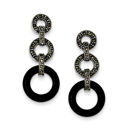 Onyx and Marcasite Circles Post Earrings in 925 Sterling Silver