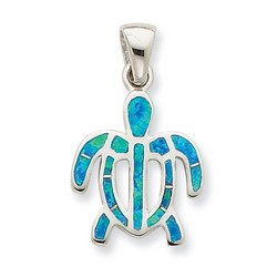 Created Blue Opal Inlay Tortoise Pendant in 925 Sterling Silver