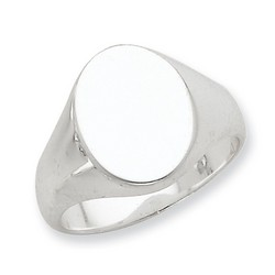 12x16mm Solid Back Signet Ring in 925 Sterling Silver