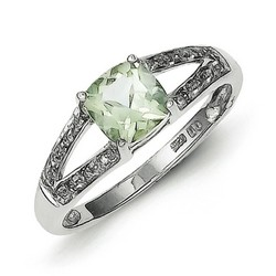 Cushion-cut Green Amethyst and Diamond Ring in 925 Sterling Silver