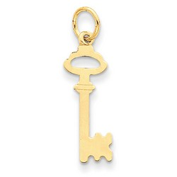 14k Yellow Gold Polished Key Charm 22x8 mm 0.5 gr *** Made in USA