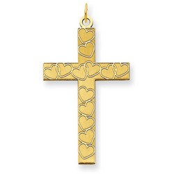 Solid 14k Yellow Gold Latin Cross Pendant 26 x 17 mm *** MADE IN USA