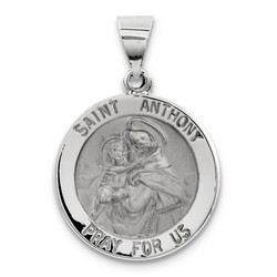 Solid 14k White Gold Saint Anthony Medal Pendant 18x18mm  *** MADE IN USA