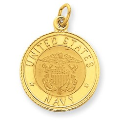 14k Yellow Gold U.S. Navy Insignia Disc Pendant 18x18 mm 1.75 gr *** Made in USA