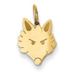 14k Yellow Gold Polished Fox Head Charm 13x11 mm 0.68 gr *** Made in USA
