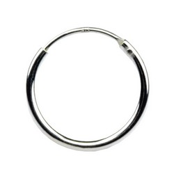 16mm Endless Hoop Earrings 925 Sterling Silver