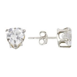 6mm Heart Stud Earrings in 925 Sterling Silver