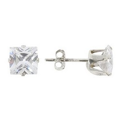 6mm Stud Earrings Princess Cut Sterling Silver