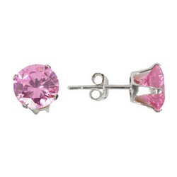 7mm Pink Stud Earrings in 925 Sterling Silver