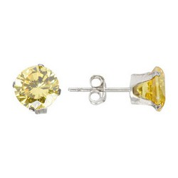 7mm Yellow Stud Earrings in Sterling Silver
