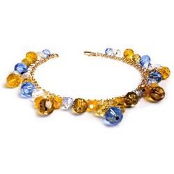 Amber Bead Drop Bracelet in 14k Gold Plating