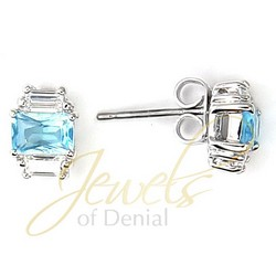 Aquamarine Earrings CZ Studs Sterling Silver