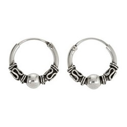 Bali Hoop Earrings in 925 Sterling Silver