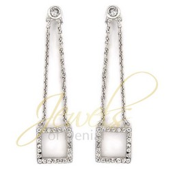 CZ Square Dangle Earrings 925 Sterling Silver