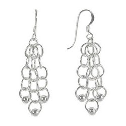Chain and Ball Earrings in Sterling Silver