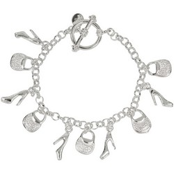 Charm Bracelet High Heels and Purse in 925 Sterling Silver 22.6gr