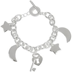 Charm Bracelet Moon and Stars Sterling Silver