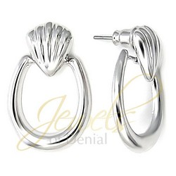 Clamshell Hoop Earrings in 925 Sterling Silver