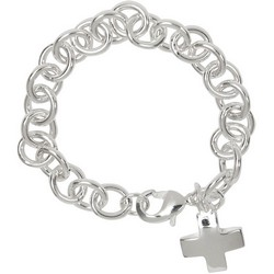 Cross Charm Bracelet in Sterling Silver