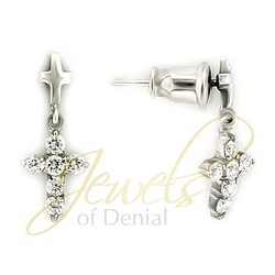 Cross Dangle Earrings in 925 Sterling Silver