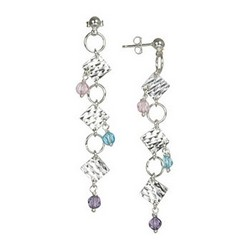 Crystal Bead Dangle Earrings Sterling Silver