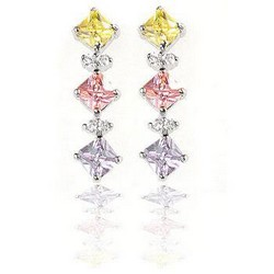 Gemstone CZ Drop Earrings 925 Sterling Silver