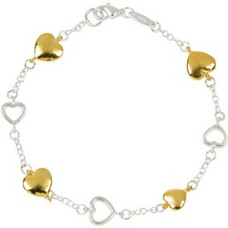 Gold Hearts Bracelet in Sterling Silver