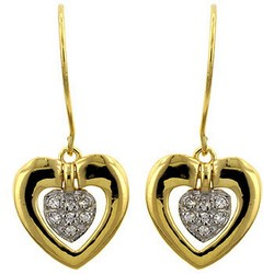 Heart Dangle Earrings in 14k Gold Plating