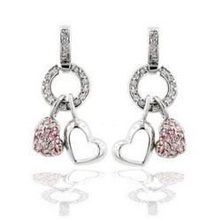 Heart Dangle Earrings in 925 Sterling Silver