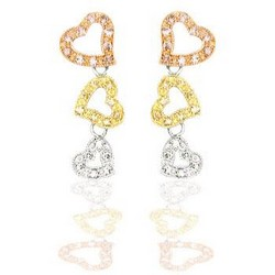 Heart Drop Earrings 14k Gold Sterling Silver