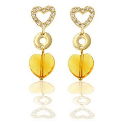 Heart Drop Earrings in 14k Gold Plating