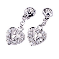 Heart Drop Earrings in 925 Sterling Silver
