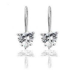 Heart Earrings Clear CZ in Sterling Silver
