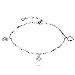 Key to My Heart Charm Bracelet Sterling SIlver