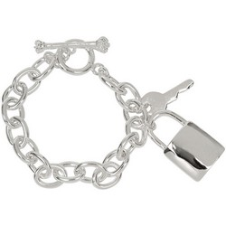 Lock Key Charm Bracelet in Sterling Silver