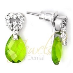 Olivine CZ Dangle Stud Earrings Sterling Silver