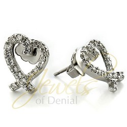 Open Heart Stud Earrings in Sterling Silver