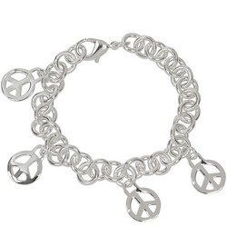 Peace Sign Charm Bracelet in Sterling Silver