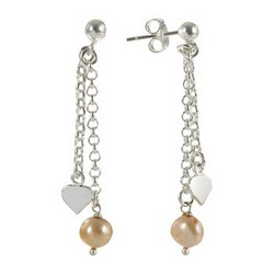 Pearl Heart Dangle Earrings 925 Sterling Silver