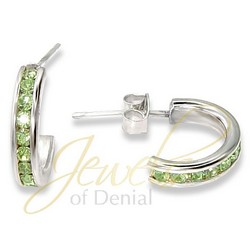 Peridot CZ Hoop Earrings in Sterling Silver
